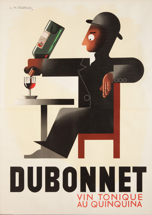 Dubonnet, circa 1956, A.M. Cassandre, 47 1/8 inches x 66 3/8 inches, third installment in the Dubonnet triptych. Estimate:  $4,000-$5,000. Image courtesy Poster Auctions International.