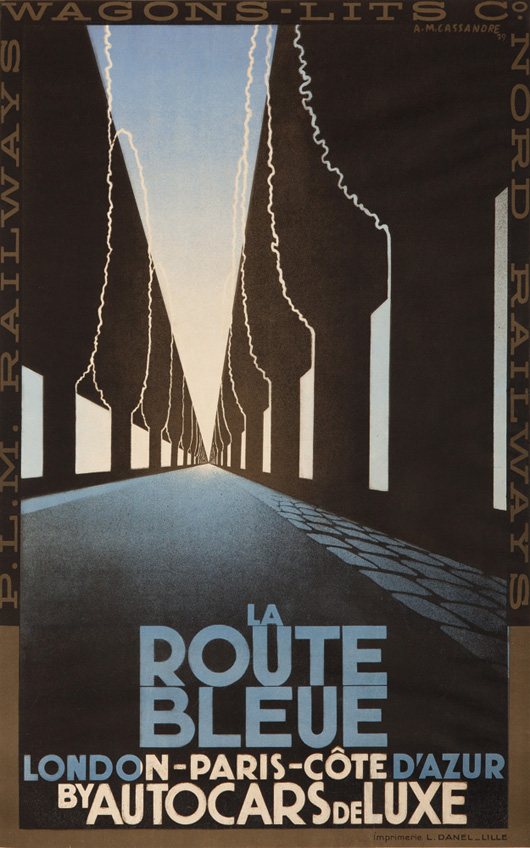 La Route Bleue, 1929, A.M. Cassandre, 24 1/4 inches x 38 3/4 inches. Advertisement for a luxury bus service run by the P.L.M. Railroad from London to the Côte d'Azur. Estimate $17,000-$20,000. Image courtesy Poster Auctions International.