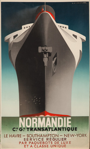 Normandie /Service Régulier, 1935, A.M. Cassandre, 23 3/4 inches x 39 inches. Poster for the new French ocean liner Normandie. Estimate: $12,000-$15,000. Image courtesy Poster Auctions International.
