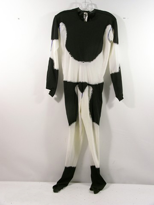 'Batman' (1989) – This is Batman's (Michael Keaton) jumpsuit worn under armored costume, custom made  by 'Phil Reynolds Costumes,' 'Name: Michael K. and Character: Batman' is handwritten on the inside tag. Estimate: $800-$1,000. Photo copyright Premiere Props.