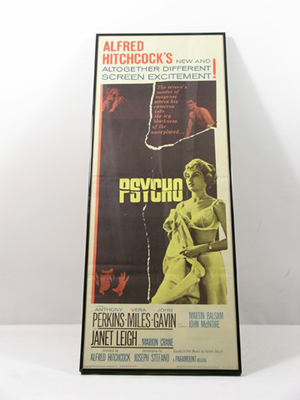 'Psycho' – From Chris Kattan's personal collection, an original Alfred Hitchcock 'Psycho' movie poster framed in a black wood and glass frame and individually numbered 60/219 (approx. 36 1/4 inches x 14 1/2 inches). Estimate: $3,000-$6,000. Photo copyright Premiere Props.