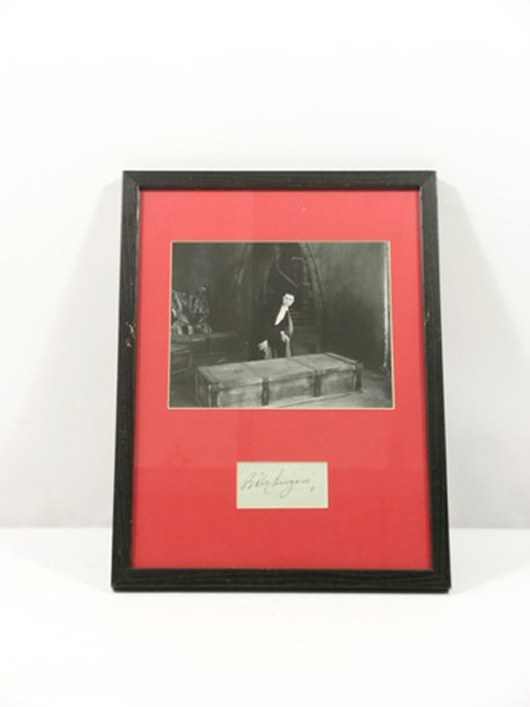 'Dracula' (1931) – From Chris Kattan's personal collection, photo of Count Dracula with an autograph of Bela Lugosi on an index card, framed and matted, (approx. 17 3/4 inches x 13 1/4 inches). Estimate: $3,000-$6,000. Photo copyright Premiere Props.