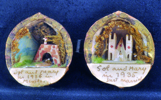This pair of miniature mixed media dioramas inside painted walnut shells is the work of famed artist Frida Kahlo (Mexican, 1907-1954). It is titled 'Wedding and Honeymoon.' Image courtesy of Clars Auction Gallery.