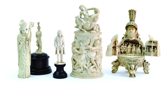 This amazing collection of German ivories including a Baroque tankard is estimated to earn $10,000 to $15,000. Image courtesy of Clars Auction Gallery.
