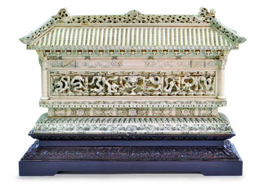 This spectacular ivory is a 20th-century Chinese model inspired by the None-Dragon Wall (Jiu Long Bil) in Beijing. Image courtesy of Clars Auction Gallery.