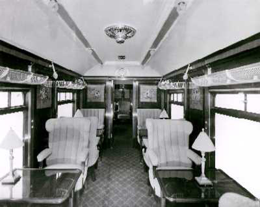 """Pullman kitchen car """"Sappho, """" photo from Birmingham City Archives (Metro Cammell Collection Album 108 Folio 23)."""
