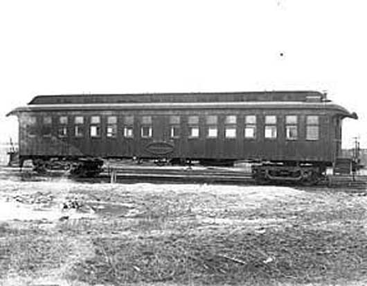 Exterior view of the first Pullman sleeping car, second half of 19th century. Photographer unknown.