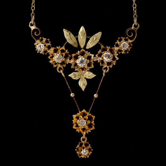 Diamond, 14K yellow, rose gold lavalier necklace. Estimate: $900 / 1,200. Image courtesy Michaan's Auctions.