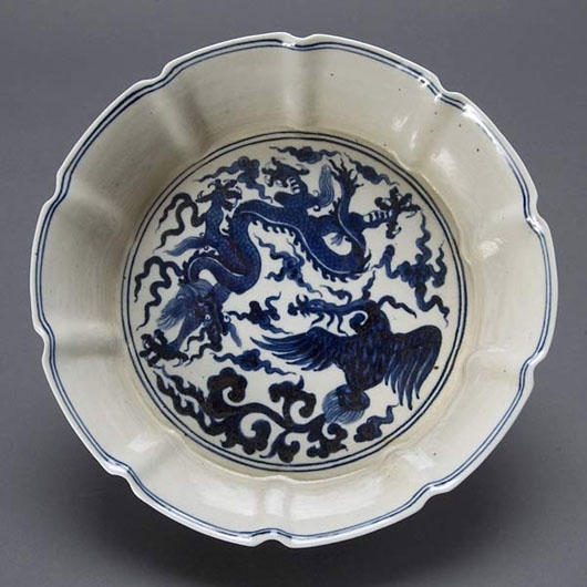 Blue and white porcelain basin, Chenghua Mark. Estimate: $600 / 800. Image courtesy Michaan's Auctions.