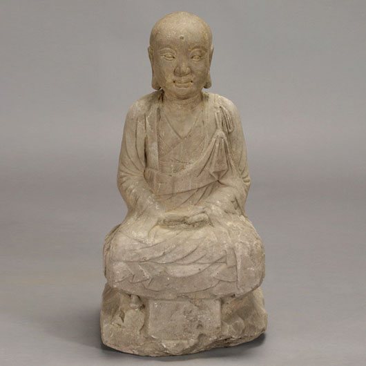 Gray stone seated Lohan. Estimate:  $900 / 1,200. Image courtesy Michaan's Auctions.