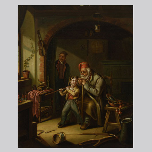 European School, 19th century, 'The Toy Solders,' oil on board. Estimate:  $800 / 1,200. Image courtesy Michaan's Auctions.