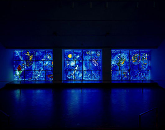 Marc Chagall (Russian, 1887-1985), America Windows, 1977. A gift of Marc Chagall, City of Chicago, and the Auxiliary Board, commemorating the American bicentennial in memory of Mayor Richard J.Daley. © 2010 Artists Rights Society (ARS), New York / ADAGP, Paris.