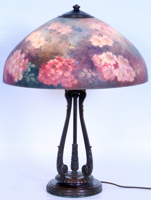 Lamps will include this Handel desk lamp with dazzling red and pink floral shade. Image courtesy of Fontaine's Auction Gallery.