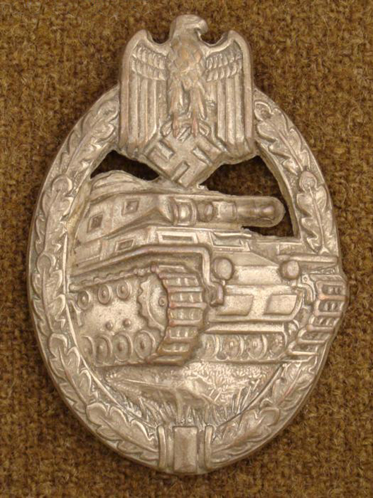Nazi silver Panzer tank badge, estimate $240-$370, to be auctioned on Friday, Nov. 5, 2010. Universal Live photo.