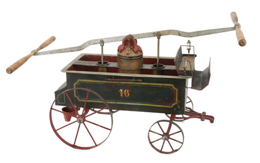 Marklin child-size fire pumper, possibly the only surviving example, heavy sheet steel and cast iron, 32½ inches long, 16 inches wide, estimate $15,000-$20,000. Noel Barrett image.