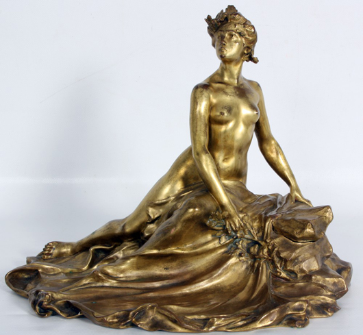 Bronze inkwell by Francois-Raoul Larche (French, 1860-1912), showing a woman in repose. Image courtesy of Fontaine's Auction Gallery.