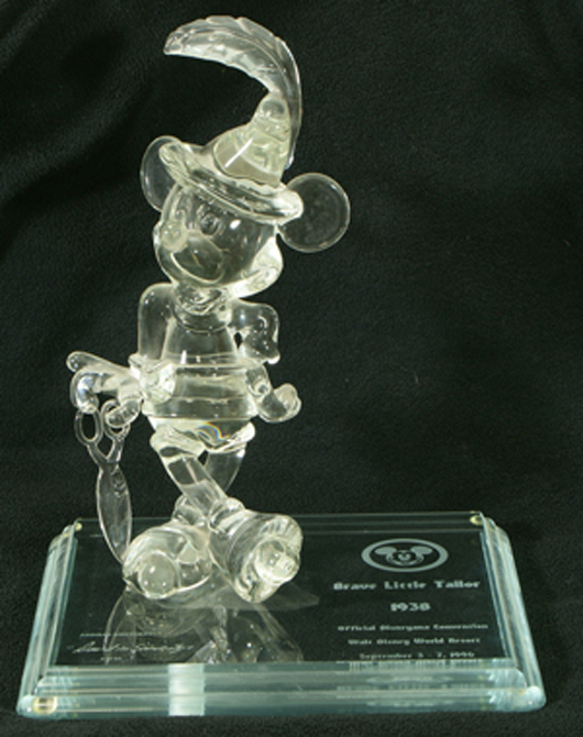 """Mickey Mouse """"Brave Little Tailor"""" crystal figurine by Arribas Bros., 14 inches, from an edition of 50, original cost $1,700. William H. Bunch Auctions image."""