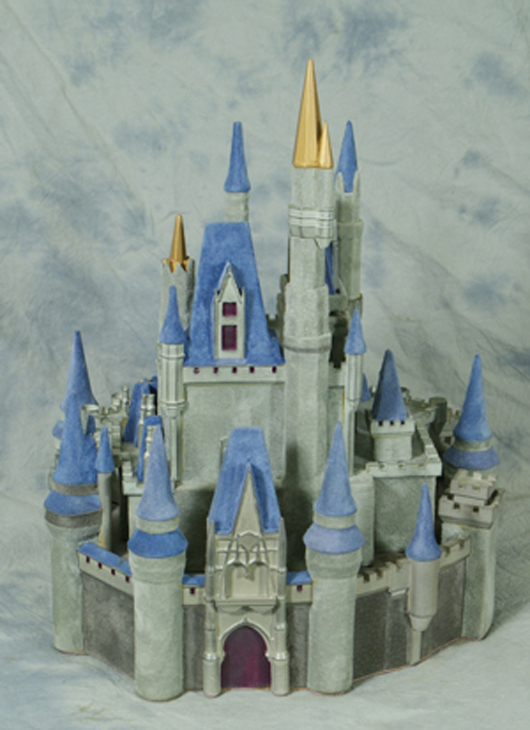 """Paddy Gordon """"Cinderella's Castle"""" sculpture, Disneyana 2000, 14 inches, limited edition 8/50, original cost $1,200. William H. Bunch Auctions image."""
