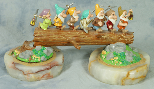 """Ron Lee porcelain and agate figurine of The Seven Dwarfs titled """"Heigh-Ho,"""" 13 3/8 inches at highest point, edition of 350 from 1996 Disneyana Convention. William H. Bunch Auctions image."""