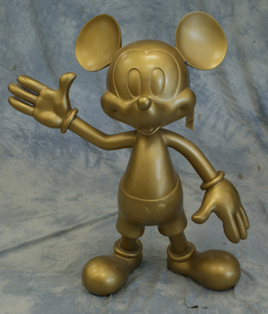 Gold-finished fiberglass Mickey Mouse figure used at Disney World, 38½ inches tall, obtained at a Disneyana convention in the 1990s. William H. Bunch Auctions image.