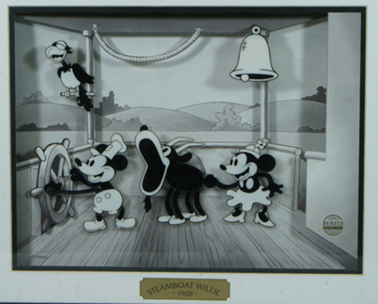 """Disney 1982 animated """"Steamboat Willie"""" panel, battery operated, 17 inches by 21 inches. William H. Bunch Auctions image."""