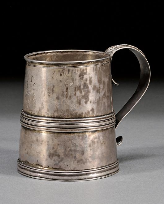 Silver Mug, Edward Winslow (1669-1753), Boston, early 18th century. Estimate: $8,000-$12,000. Image courtesy of Skinner Inc.