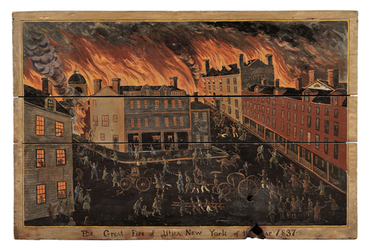 American School, 19th century, 'The Great Fire of Utica New York of the Year 1837.' Unsigned, titled below. Oil on three joined wood panels, 38 1/2 x 58 1/2 in. Estimate $40,000-$60,000. Image courtesy of Skinner Inc.