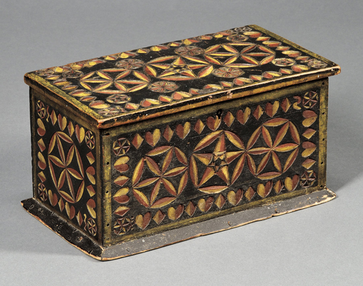 Carved and painted wood box, probably New England, 1862. Estimate $4,000-$6,000. Image courtesy of Skinner Inc.