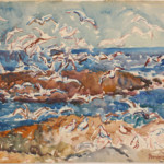 A recently discovered watercolor seascape by Maurice Prendergast brought $23,000. Image courtesy of Case Antiques Inc.