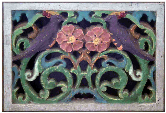 A Wheatley tile cold air return depicts parrots. Image courtesy of Wooden Nickel Antiques.