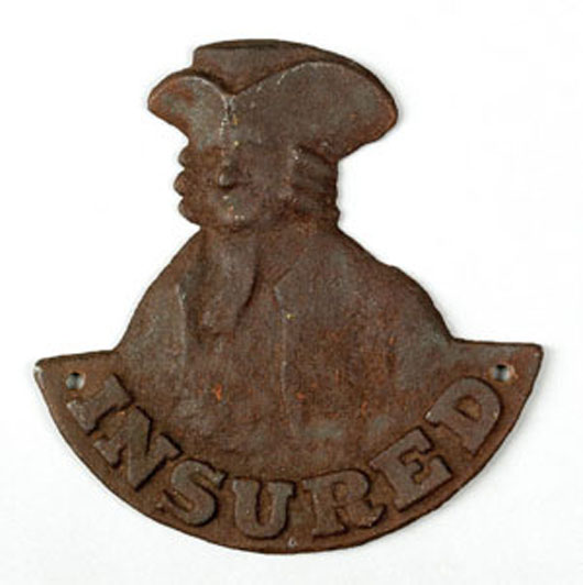 Cast-iron fire mark for 'The Penn Fire Insurance Company, Pittsburgh, Pennsylvania, 1841-1845,' featuring a bust of William Penn, 8 1/2 inches high by 8 1/2 inches wide. Image courtesy of Pook & Pook Inc.