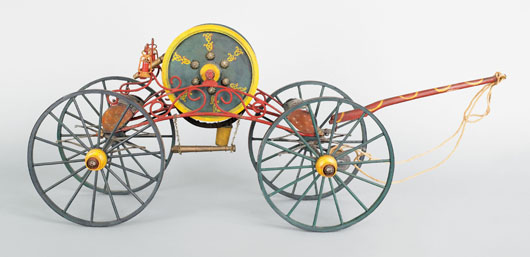 Early 20th-century painted wood model of a spider-type hand-drawn hose reel carriage, retaining a vibrant polychrome surface, 10 1/4 inches high x 26 inches wide. Image courtesy of Pook & Pook Inc.