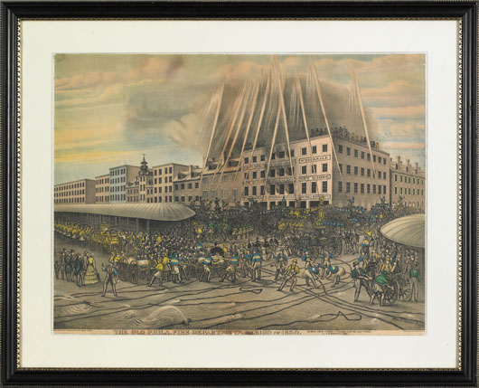 Color lithograph titled 'The Old Philadelphia Fire Department period of 1850, the great engine contest on Sunday Evening July 7th 1850 at 5th & Market Sts,' after Charles Spieler, published by Theo Leonhardt & Son, 21 1/2 inches x 29 inches. Image courtesy of Pook & Pook Inc.