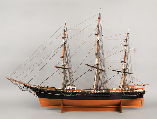 Rigged model of the American clipper ship, Sovereign of the Seas, late 19th century, 38 inches high x 53 inches wide. Image courtesy of Pook & Pook Inc.