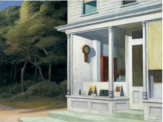 Edward Hopper 1882-1967, Seven A. M., 1948. Oil on canvas, 30 3/16 × 40 1/8 in. (76.68 x 101.92 cm). Whitney Museum of American Art, New York; Purchase and exchange 50.8. © Whitney Museum of American Art. Photograph by Steven Sloman