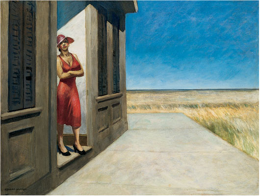 Edward Hopper 1882-1967, South Carolina Morning, 1955. Oil on canvas, 30 9/16 × 40 1/4 in. (77.63 x 102.24 cm) Frame 38 1/8 × 48 1/8 in. Whitney Museum of American Art, New York; Given in memory of Otto L. Spaeth by his Family 67.13 © Whitney Museum of American Art, NY.