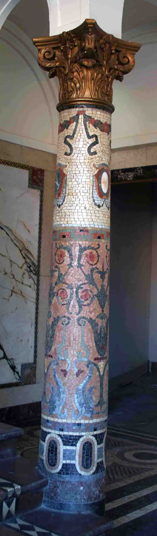 One of a pair of mosaic columns salvaged. Image courtesy of Wooden Nickel Antiques.