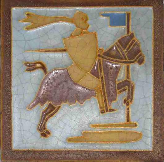 A 6-inch x 6-inch Wheatley wall tile depicting a knight. Image courtesy of Wooden Nickel Antiques.