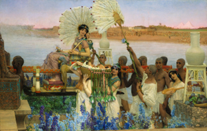Sir Lawrence Alma-Tadema, The Finding of Moses, signed L. Alma Tadema and inscribed OP. CCCLXXVII (lower left), oil on canvas 53 ≤ by 84 in. (136.7 by 213.4 cm.) Est. $3/5 million, sold: $35,922,500, a record for the artist at auction. Image courtesy of Sotheby's.