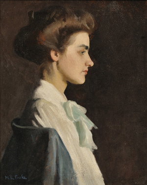 Marion Louise Pooke (American, 1883, 1975), Portrait of a Young Woman in Profile, oil on canvas, 21 by 17 inches, framed. Estimate $400-$600. Image courtesy Skinner Inc.