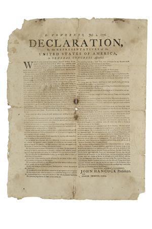 Rare and historically important contemporary broadside printing of the Declaration of Independence, likely [Exeter, N.H., Robert Luist Fowle, July, 1776]. Estimate $300,000-500,000. Image courtesy of Skinner Inc.