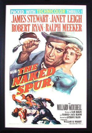 James Stewart starred in the 1953 release 'The Naked Spur,' considered one of the best Westerns ever filmed. This movie poster pictures Steward and co-star Janet Leigh. Image courtesy of Clark Cierlak, Clark's Fine Art & Auctioneers Inc. and LiveAuctioneers archive.