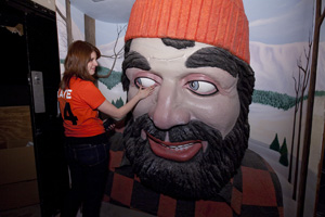 During a nooks and crannies tour, McGroarty ran into Paul Bunyan himself – an exhibit at the museum from years ago. Photo by J.B. Spector, Museum of Science and Industry.