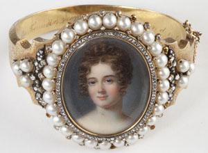 Victorian diamond and pearl portrait bangle bracelet depicting female portraits on ivory. Image courtesy of Leland Little Auction & Estate Sales Ltd.