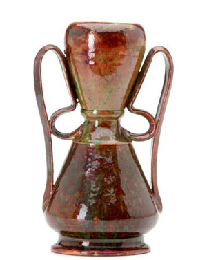 George Ohr 8 1/2-inch vase with two ribbon handles, red and green mottled glaze, stamped