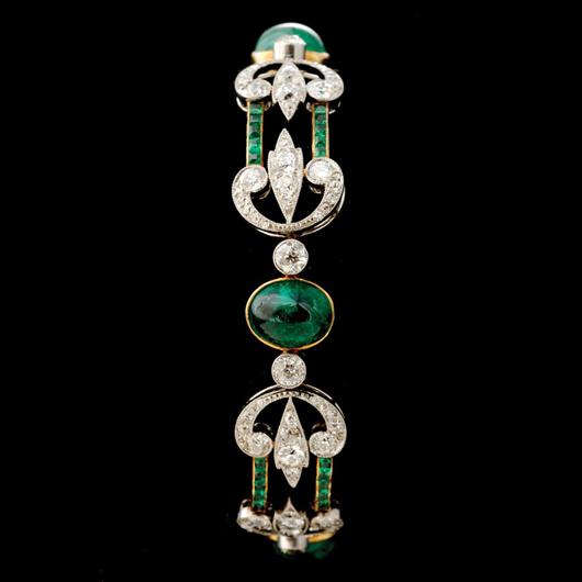 Emerald diamond, platinum 14K yellow gold bracelet. Estimate: $4,000-$6,000. Image courtesy of Michaan's Auctions.