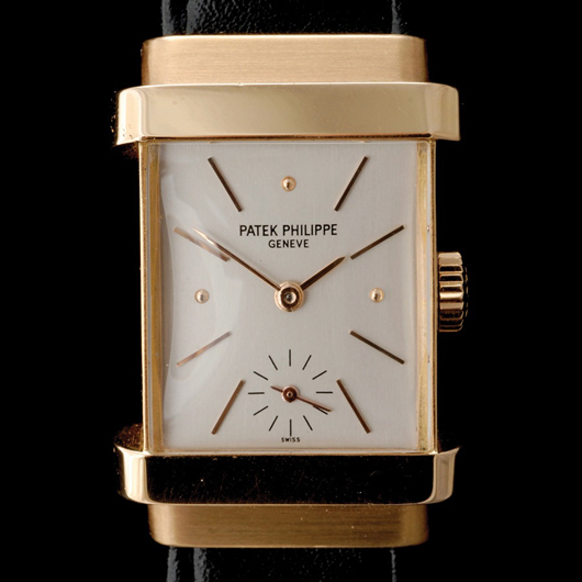Patek Philippe Top Hat, 18K rose gold wristwatch. Estimate: $9,000-$12,000. Image courtesy of Michaan's Auctions.