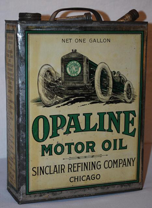 Sinclair Opaline Motor Oil 1-gallon flat metal can with race car graphic, rated 8.5, $3,300. Image courtesy of Matthews Auctions LLC.