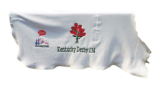 Big Brown's embroidered white fleece winner's blanket from the May 3, 2008 Kentucky Derby. The blanket will be auctioned on Dec. 8, 2010. Image courtesy Grey Flannel Auctions.