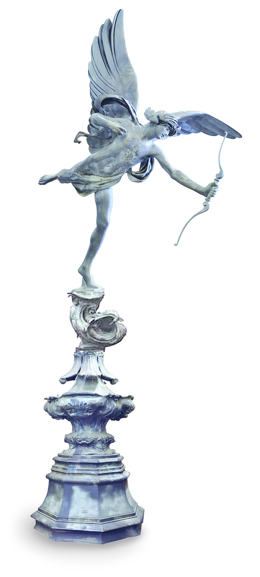 This massive 17-foot English aluminum replica of Eros on a pedestal cast from the model by Alfred Gilbert is estimated at $80,000-$120,000. Image courtesy Clars Auction Gallery.